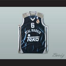 Sasha Djordjevic 6 Real Madrid Dark Blue Basketball Jersey