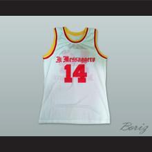 Dino Radja 14 Messaggero Roma White Basketball Jersey