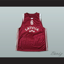 Latvija 6 National Team Maroon Basketball Jersey