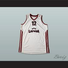 Latvija 12 National Team White Basketball Jersey