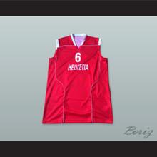 Switzerland Helvetia 6 National Team Red Basketball Jersey