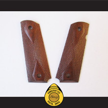 Boriz Handcrafted Pistol Grips 1911 Full Frame & Commander Merbau Redwood Checkered Diamond
