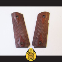 Boriz Handcrafted Pistol Grips 1911 Officer Merbau Redwood Checkered Diamond