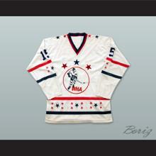 WHA 1972-73 Michael Parizeau 15 All Star White Hockey Jersey