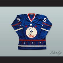 WHA 1972-73 Bobby Hull 9 All Star Blue Hockey Jersey