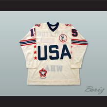 WHA 1975-76 Wayne Carleton 15 All Star White Hockey Jersey