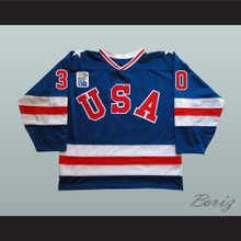 1980 Miracle On Ice Team USA Jim Craig 30 Hockey Jersey Blue with Patch