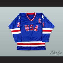 Mike Eruzione 21 USA Blue Hockey Jersey