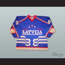 Latvija 28 Blue Hockey Jersey