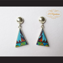 P Middleton Triangle Shape Micro Inlay Stone Design Earrings Sterling Silver .925