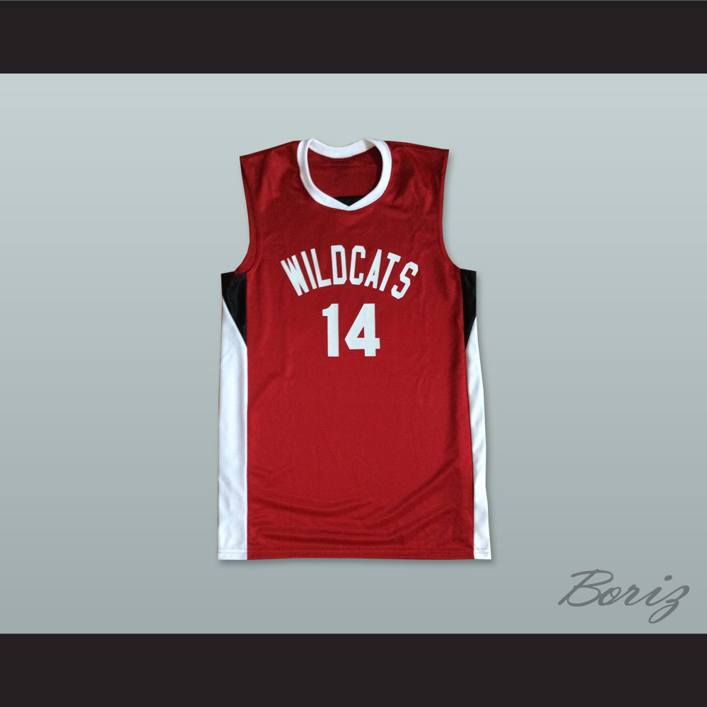 borizcustoms Zac E Troy Bolton 14 East High School Wildcats White Basketball Jersey