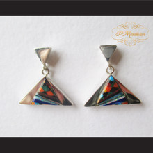 P Middleton Triangle Multi-Stone Inlay Earrings Sterling Silver .925
