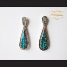 P Middleton Large Teardrop Design Multi-Stone Inlay Earrings Sterling Silver .925