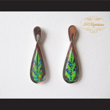 P Middleton Large Teardrop Design Stone Inlay Earrings Sterling Silver .925