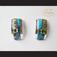 P Middleton Curved Design Stone Inlay Earrings Sterling Silver .925
