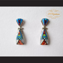 P Middleton Native American Design Multiple-Stone Inlay Earrings Sterling Silver .925