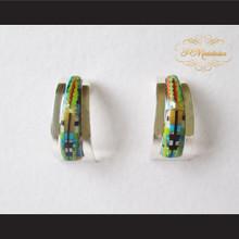 P Middleton Half Hoop Design Multiple-Stone Inlay Earrings Sterling Silver .925