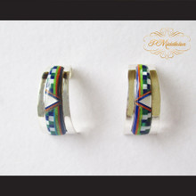 P Middleton Half Hoop Design Stone Inlay Earrings Sterling Silver .925