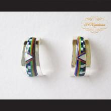 P Middleton Half Hoop Design Stone Inlay Earrings Sterling Silver .925