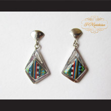 P Middleton Abstract Style Multi-Stone Earrings Sterling Silver .925