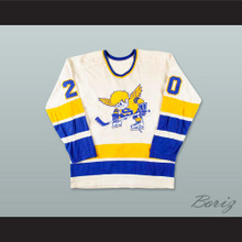 WHA 1975-76 Minnesota Fighting Saints Jack Carlson 20 White Hockey Jersey