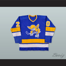 WHA 1974-75 Minnesota Fighting Saints Jack Carlson 20 Blue Hockey Jersey