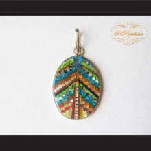 P Middleton Oval Pendant Sterling Silver .925 Micro Stone Inlays