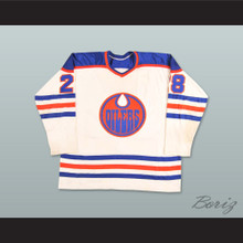 WHA 1978-79 Edmonton Oilers Dave Dryden 28 Home Hockey Jersey