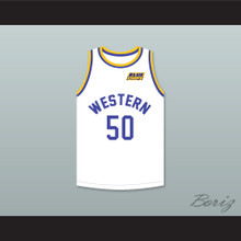 Shaq Neon Boudeaux 50 Western University White Basketball Jersey with Blue Chips Patch