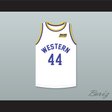 Anthony C Hall Tony the Point Shaver 44 Western University White Basketball Jersey with Blue Chips Patch