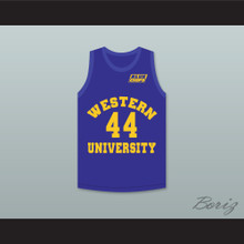 Anthony C Hall Tony the Point Shaver 44 Western University Blue Basketball Jersey with Blue Chips Patch