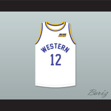 Action Bronson 12 Western University White Basketball Jersey with Blue Chips Patch