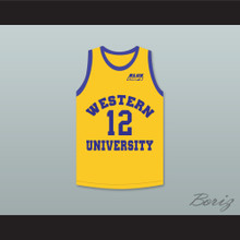 Action Bronson 12 Western University Yellow Basketball Jersey with Blue Chips Patch