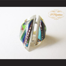 P Middleton Micro Stone Inlay Abstract Design Sterling Silver .925 Ring