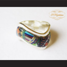 P Middleton Micro Stone Inlay Wave Design Sterling Silver .925 Ring