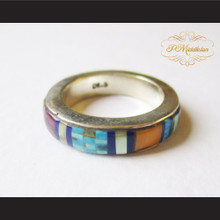 P Middleton Micro Inlay Band Style Sterling Silver .925 Ring