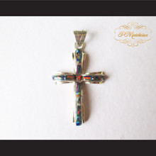 P Middleton Christian Cross Pendant Sterling Silver .925 Micro Stone Inlays