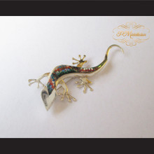 P Middleton Gecko Brooch/ Pendant Sterling Silver .925 with Micro Inlay Stones