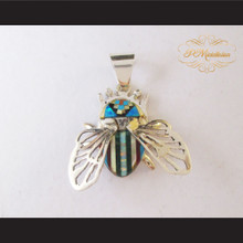 P Middleton Beetle Pendant Sterling Silver .925 Micro Inlay Stone Design