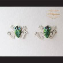 P Middleton Frog Design Multi-Stone Inlays Earrings Sterling Silver .925