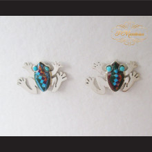 P Middleton Frog Multi-Stone Inlays Earrings Sterling Silver .925