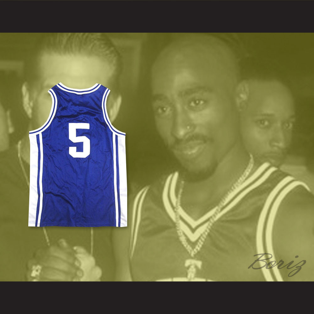 Tupac Shakur Jeff Capel 5 Iconic Blue Basketball Jersey. Price   45.99.  Image 1. Larger   More Photos 2bdcde44e