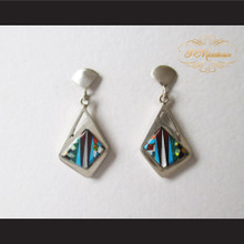 P Middleton Abstract Style Design Multi-Stone Earrings Sterling Silver .925