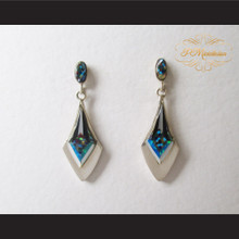 P Middleton Diamond Design Multi-Stone Inlay Earrings Sterling Silver .925