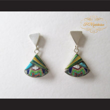 P Middleton Curvilinear Triangle Wedge Design Micro Inlay Earrings Sterling Silver .925