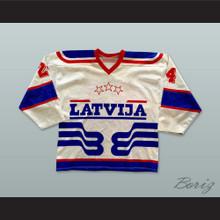 Latvija White Hockey Jersey