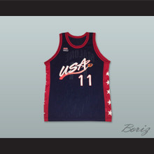 1996 Karl Malone 11 USA Team Away Basketball Jersey