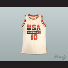 Clyde Drexler 10 USA Team Home Basketball Jersey