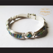 P Middleton Micro Stone Inlays Latch Bracelet Sterling Silver .925
