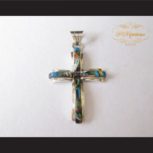 P Middleton Christian Cross Pendant Sterling Silver .925 Micro Stone Inlay Design